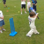 1st Innings Little Wicketer swinging bat at Holiday Camp in Nottingham