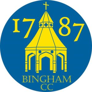 local cricket club bingham cc 1787 logo in blue
